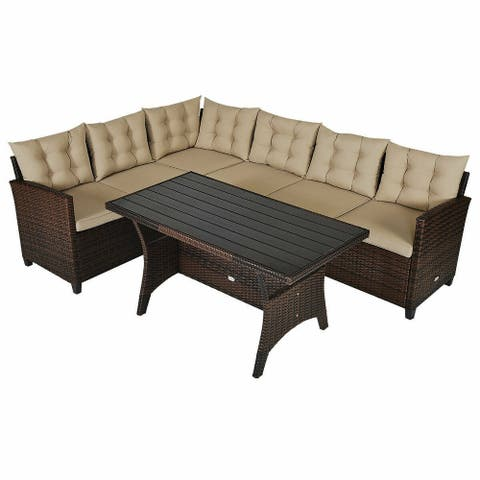 3 Pcs Rattan Dining Set Patio Furniture Sofa with Cushions - Brown