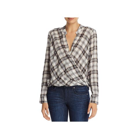 Splendid Womens Casual Top Surplice Plaid