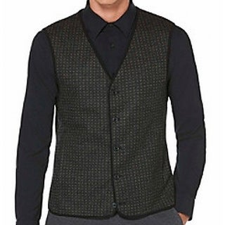 Perry Ellis NEW Charcoal Gray Mens Size Medium M Printed Button Vest