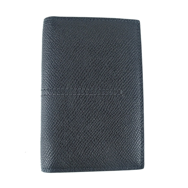 Tods Mens Black Grained Leather Center Stitched Vertical Card Holder