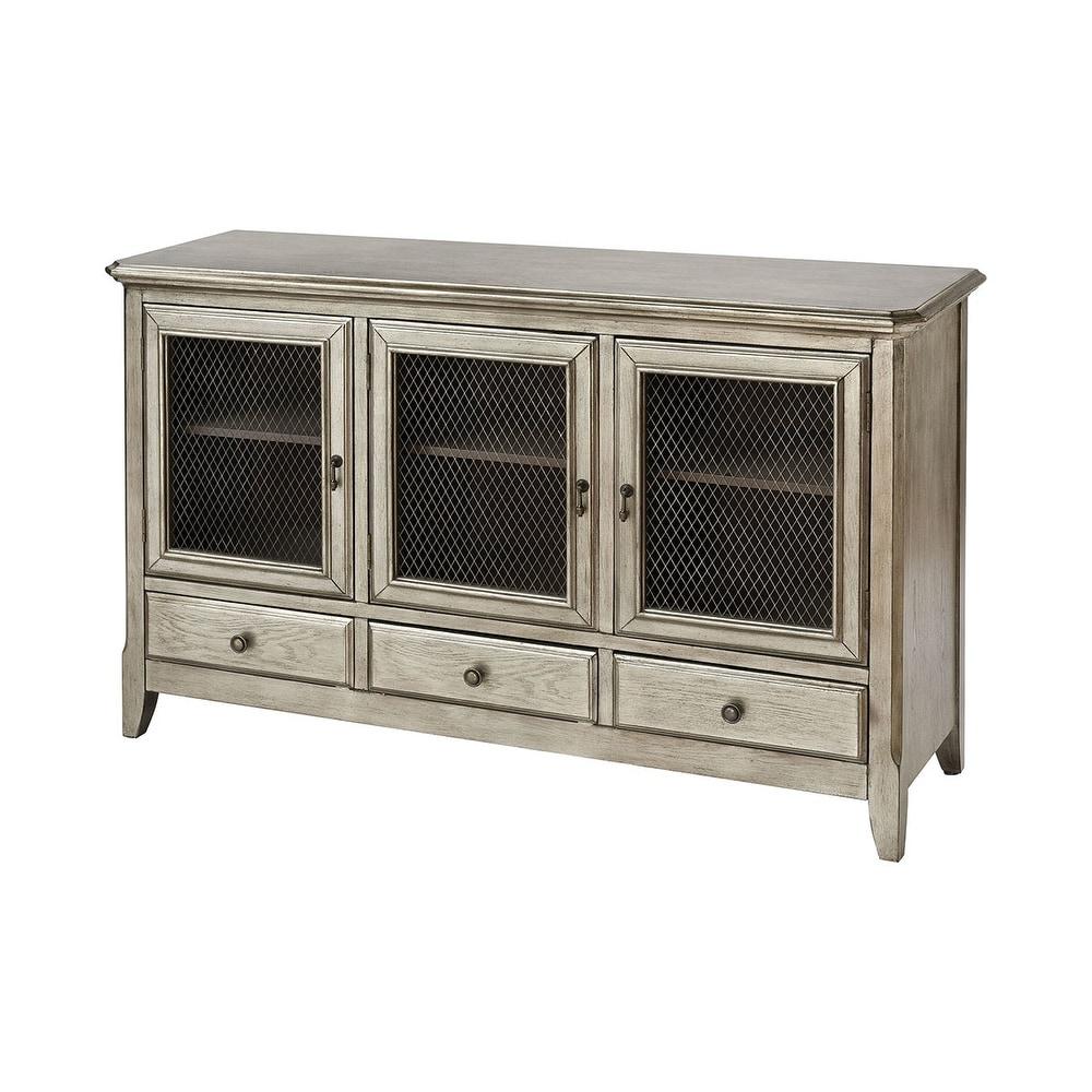 Elk Home Walsh 3-Door 3-Drawer Cabinet in Antique Silver Leaf (Antique Silver Leaf)
