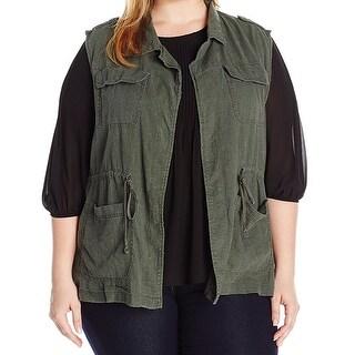 Supplies NEW Green Womens Size 2X Plus Military Drawstring Vest Jacket