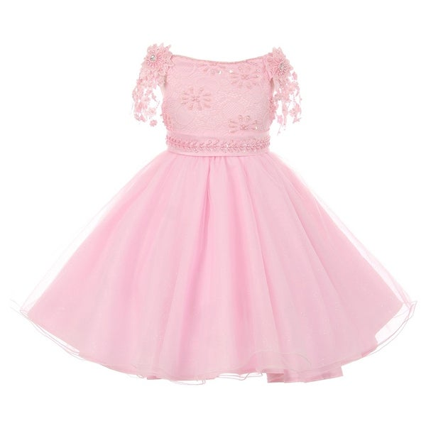 c9276e47efc Shop Little Girls Blush Pink Pearl Beaded Lace Sash Strap Flower Girl Dress  2 - Free Shipping Today - Overstock - 19491478