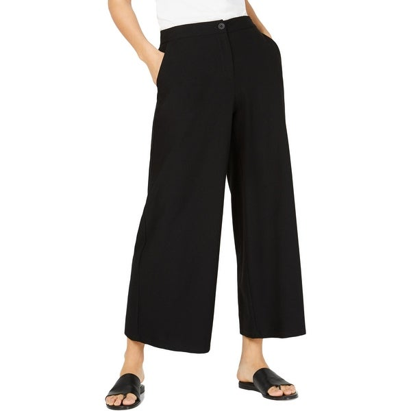Eileen Fisher Womens Wide Leg Pants High Waist Cropped - Black. Opens flyout.