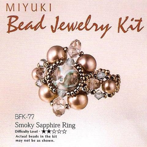 Create Your Own Miyuki Beaded Ring Kit - Grey Blue Size 6.5