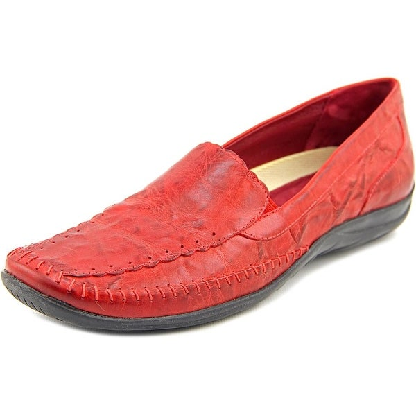 Elites by Walking Cradles Tippy Women N/S Square Toe Leather Red Loafer