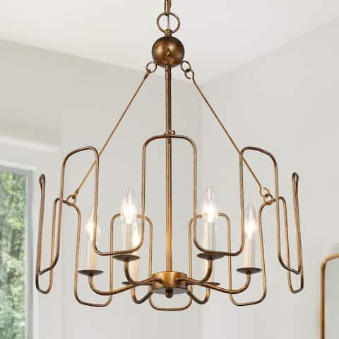 """Rustic Antique Gold Drum Chandelier Linear Pendant Lighting - D21""""x H 23.5"""""""