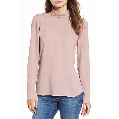 Trouve Dusty Pink Womens Size Large L Solid Turtleneck Blouse