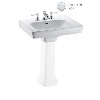 """Toto LT532.8 Promenade 24"""" Pedestal Bathroom Sink with 3 Faucet Holes Drilled and Overflow - Less Pedestal"""