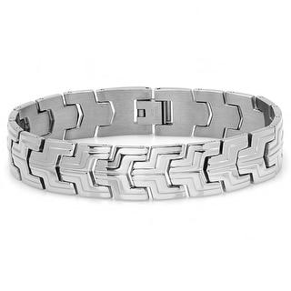 Oxford Ivy Mens Stainless Steel Patterned Link Bracelet 8 1/2 inch
