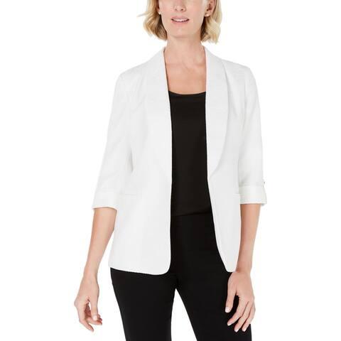 Kasper Womens Blazer Pattern Roll Tab Sleeves - Vanilla Ice
