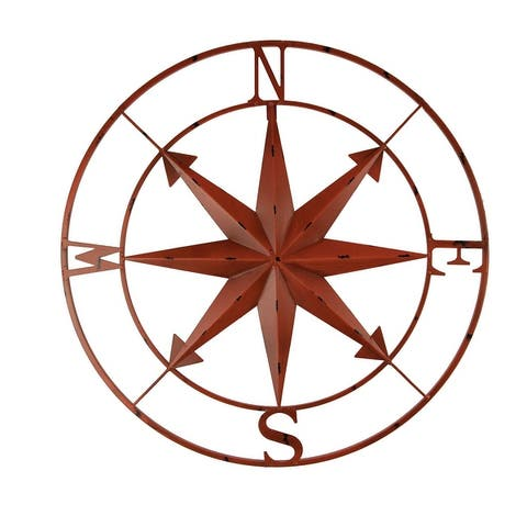 Distressed Metal Indoor/Outdoor Compass Rose Wall Hanging 28 Inch - 28 X 28 X 0.5 inches