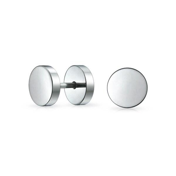 3cbdd43ba557d Shop Silver Tone Bar Bell 8 mm Round Tunnel Illusion Faux Ear Plug ...