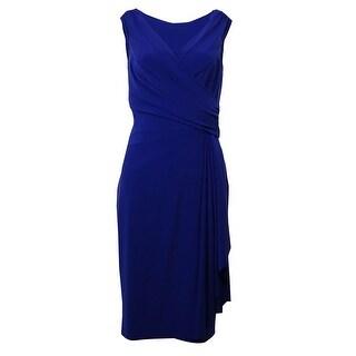 Lauren Ralph Lauren Women's Surplice Ruched Jersey Dress - brilliant purple