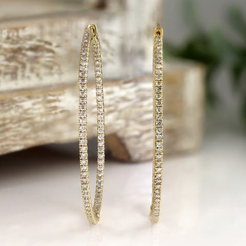 Auriya 14k Gold 3ctw Large Inside-out Diamond Hoop Earrings - 2.28-inch