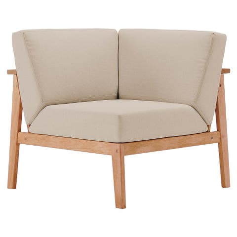 Sedona Outdoor Patio Eucalyptus Wood Sectional Sofa Corner Chair