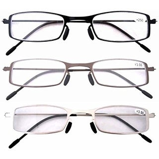 Eyekepper 3 Pcs Lightweight Stainless Steel Frame Reading Glasses+1.5