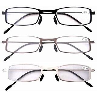 Eyekepper 3 Pcs Lightweight Stainless Steel Frame Cheap Reading Glasses+2.75 - +2.75