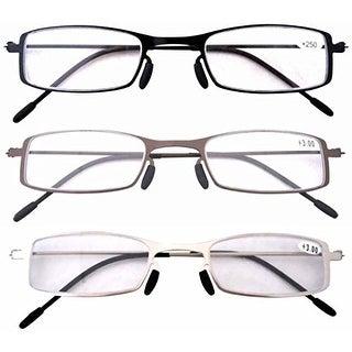 Eyekepper 3 Pcs Lightweight Stainless Steel Frame Reading Glasses+3.5