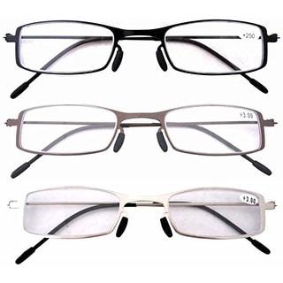 Eyekepper 3 Pcs Lightweight Stainless Steel Frame  Reading Glasses+4.0