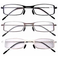 Eyekepper 3 Pcs Lightweight Stainless Steel Frame  Reading Glasses+4.0