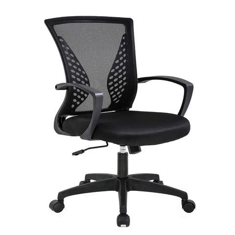 Office Mid Back Swivel Lumbar Support Ergonomic Chair with Armrest