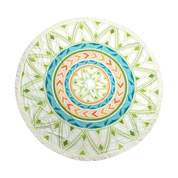 Outdoor Activities Round Shaped Tassels Wall Decor Picnic Shawl Mat Blanket Beach Tapestry Table Cover