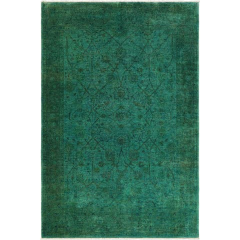 Bohemian Overdyed Jenae Green/Blue Hand knotted Rug - 9'5 x 11'1 - 9 ft. 5 in. X 11 ft. 1 in.