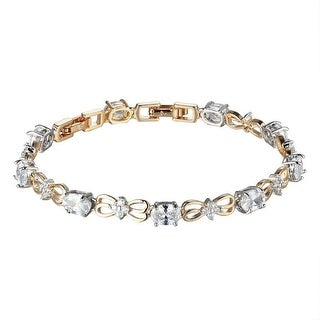 Solitaire Link Tennis Design Bracelet Womens Butterfly 14k Gold Tone 7.5 Inch