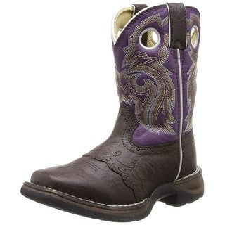 Durango Kids BT286 Lil' 8 Inch Saddle - Dark Brown/Purple - 10 m us toddler