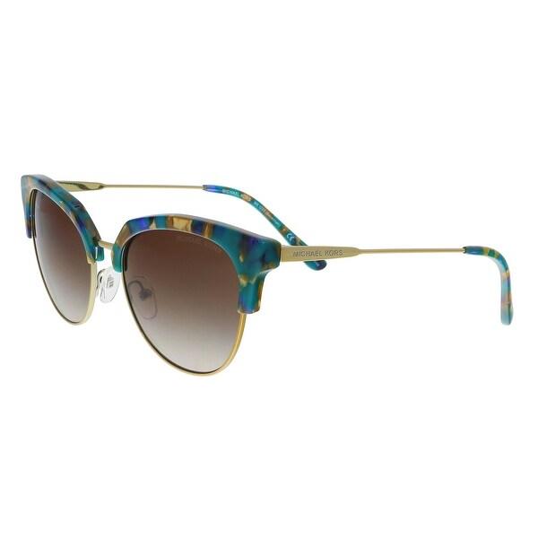 57a08ec94ba Michael Kors MK1033 334413 Teal Mosaic   Pale Gold Cat eye Sunglasses -  54-18