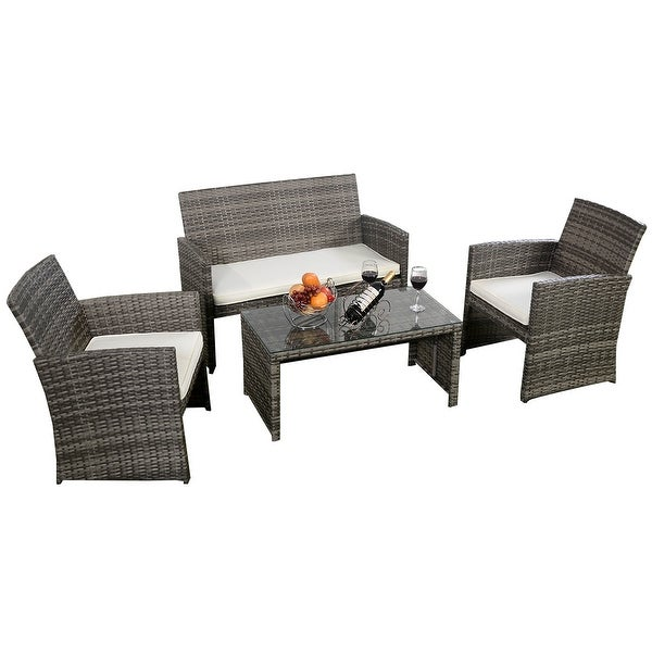 costway 4 pc rattan patio furniture set garden lawn sofa cushioned seat mix gray wicker - Rattan Garden Furniture 4 Seater