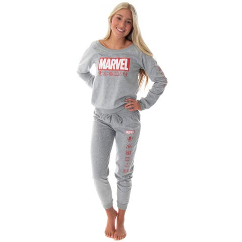 Marvel Comics Women's Juniors' Avengers Brick Logo Shirt and Jogger Pants Pajama Set