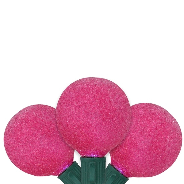Set of 10 Battery Operated Sugared Pink LED G50 Christmas Lights - Green Wire