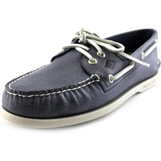 Sperry Top Sider A/O 2-Eye White Cap Moc Toe Leather Boat Shoe