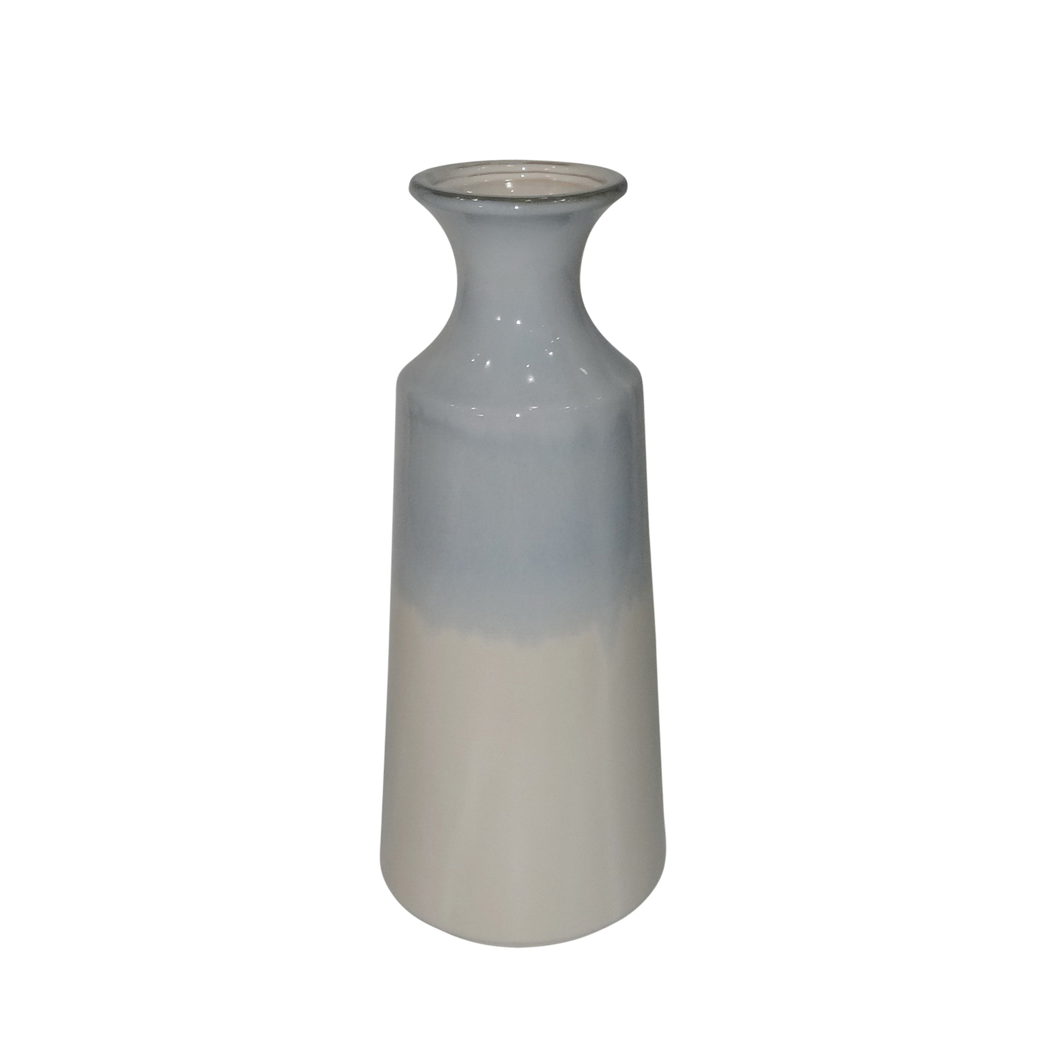 Dual Tone Ceramic Decorative Vase with Round Flared Opening, Blue and White