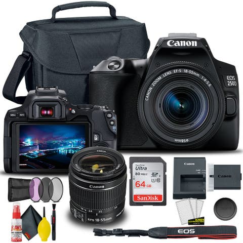 Canon EOS 250D / Rebel SL3 DSLR Camera with 18-55mm Lens (Black) +