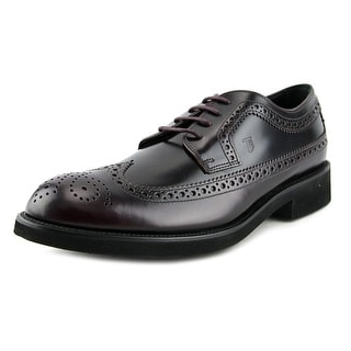 Tod's All Bucature Derby Esquire Giovane Men Round Toe Leather Burgundy Oxford