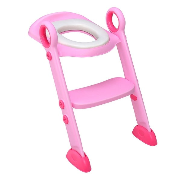 Costway Toddler Toilet Potty Training Seat with Sturdy Non-Slip Ladder Step Boys & Girls - Pink