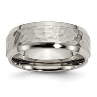 Chisel Titanium 8mm Hammered and Polished Band