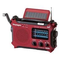 Kaito Voyager Solar-Powered Emergency Radio: Red - 11 in. x 6 in. x 3 in.