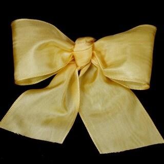 "Yellow Deco Moire Satin Craft Ribbon 3"" x 27 Yards"