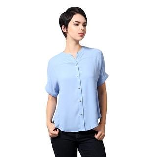 NE PEOPLE Women's Lightweight Short Sleeved Woven Button Down Blouse Shirt (NEWT403)
