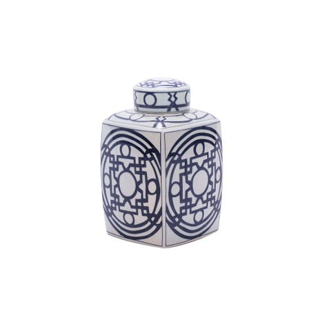 Handmade Pattern of Lines Large Square Tea Decorative Jar