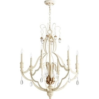 """Quorum International 644-6 Venice 6 Light 28"""" Wide Single Tier Chandelier with Crystal Accents"""