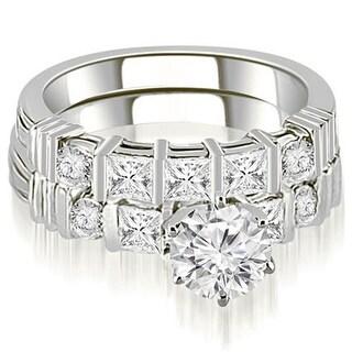 2.24 CT.TW Princess And Round Cut Diamond Bridal Set - White H-I