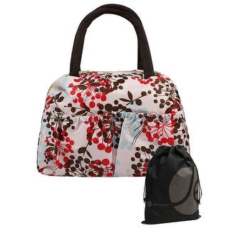 JAVoedge Floral Print Lunch Tote Bag with Zipper and Handle, with Front Elastic Pocket