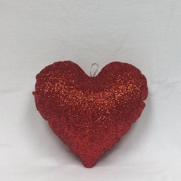 "16"" Sparkly Red Inflatable Tinsel Heart Christmas Ornament"