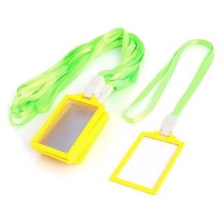 Office School Plastic Rim Vertical Badge ID Card Holder Yellow Clear 10 Pcs