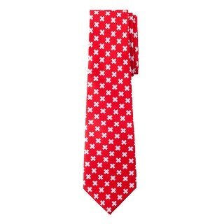 Jacob Alexander Switzerland Country Flag Colors Men's Necktie - Red with White Diagonal Swiss Crosses Design